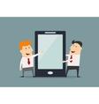 Cartoon businessmen with huge smartphone in flat vector image vector image