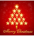 Christmas tree of gold shining stars vector image
