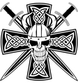 celtic cross and skull vector image vector image