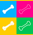 bone sign four styles of icon on vector image
