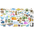 colored camping and hiking elements collection vector image