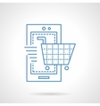 Mobile store blue flat line icon vector image