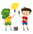 two boys painting wall yellow vector image