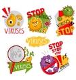 Cartoon viruses characters isolated vector image
