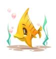 Cute cartoon yellow fish on the sea bottom vector image