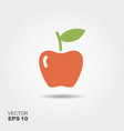 apple flat icon with shadow vector image