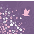 bird flies up to pink flowers a vector illustratio vector image