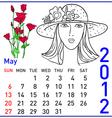 2012 year calendar in may vector image