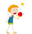 Boy standing in the sun vector image