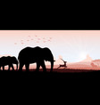 Elephant family with deer and birds vector image