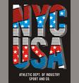 athletic nyc usa american flag vector image