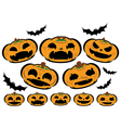 Halloween set pumpkins with different face vector image