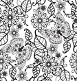 Hand drawn Decorative pattern with floral ornament vector image