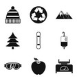 hiking in the mountains icons set simple style vector image