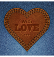 leather heart on jeans vector image