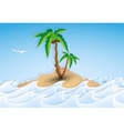 Paper tropical island with palm tree vector image