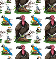Seamless background with wild birds vector image
