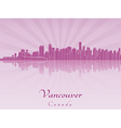 Vancouver skyline in purple radiant orchid vector image