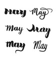 may calligraphy lettering set vector image
