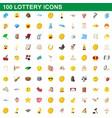100 lottery icons set cartoon style