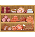 Shelfs with meat products vector image vector image