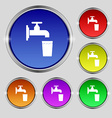 faucet glass water icon sign Round symbol on vector image