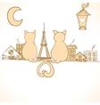 Sitting cats bright invitation vector image