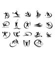 Black silhouette stylized athletes set vector image