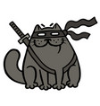 cartoon fat ninja cat in a mask and a sword vector image