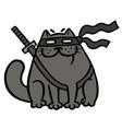 cartoon fat ninja cat in a mask and a sword vector image