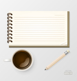 Coffee with Notebook and Pencil vector image