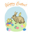 easter eggs and rabbit vector image