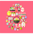 Easter Flat Icons Set Egg shaped with shadow over vector image