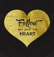 Greeting card with gold texture heart vector image