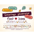 Greetings doodles set hand drawn script and icons vector image