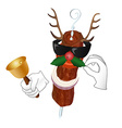 Kebab Reindeer with bell and holly berry vector image