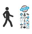 Walking Man Flat Icon with Bonus vector image
