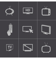 black TV icons set vector image