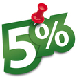Five percent sticker vector image vector image