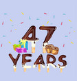 47th years happy birthday card vector image