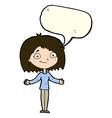 cartoon woman shrugging shoulders with speech vector image