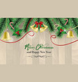 christmas and new year wishes with golden bells vector image