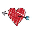 color crayon stripe image red heart pierced by vector image