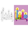 Coloring Book Of Different Christmas Candles vector image