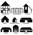 Farm Buildings Icons vector image