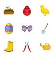Gardening equipment icons set cartoon style vector image