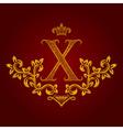 Patterned golden letter X monogram in vintage vector image
