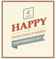 Retro printing card for Independence Day vector image