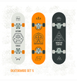 Set of retro vintage badges on a skateboard vector image