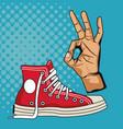 vintage sneaker pop art vector image